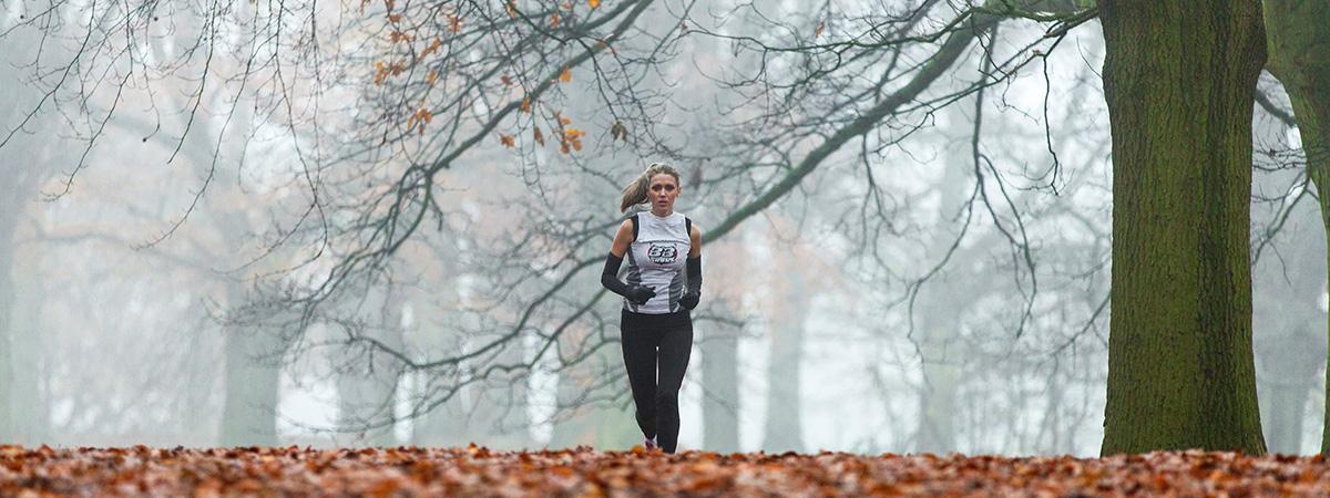 Runner running alone